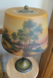 Jefferson Reverse Painted Lamp marked circa 1910-1920 Excellent condition