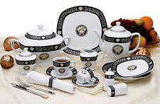 Tafel+Kaffee Kombi Service-Set 57 tlg 6 Pers schwarz-Silber eckig Medusa Mäander