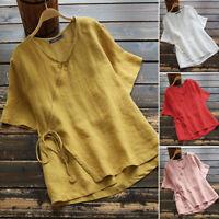 Mode Femme  100% coton Manche Courte Blouse à lacets Chemise Haut Shirt Plus