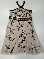 L504 WOMENS MONSOON BNWT RRP £149 NUDE BLACK BEADS FLORAL EVENING DRESS UK 18