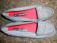Oliberte dark grey leather Ralini flats moccasin shoes display 7M New no box