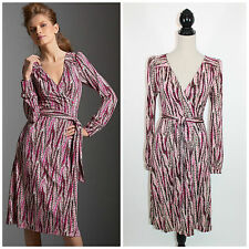 DVF Diane Von Furstenberg Dacha Bookplate Print Wine Pink Silk Wrap Dress 8