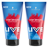 2x  Schwarzkopf Live Stay Bright Colour Booster Shampoo PILLAR BOX RED 150ml