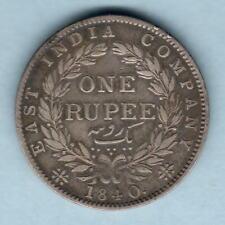 India. 1840 One Rupee - Type-1.  aVF