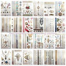 US SELLER- 20 sheets wholesale temporary metallic flash tattoo fake tatoos