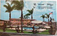 El Cajon San Diego California TraveLodge Motel College Pool Postcard Vintage 60s