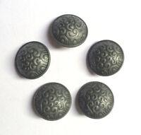 5PCS Antique Silver Metal Shank Buttons Coats Jackets Sewing Craft DIY 19 MM