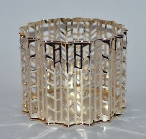 BATH & BODY WORKS GOLD KNITTED CHEVRONS LARGE 3 WICK CANDLE HOLDER SLEEVE 14.5