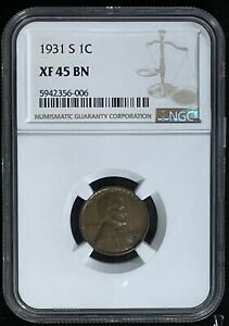 1931 S Lincoln Wheat Cent Certified By NGC Graded Extra Fine 45 BR