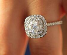 Engagement Ring 14k White Gold Finish 1.50Ct Round Cut White Diamond Dubal Halo