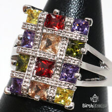 Multi-color Topaz Statement CZ Halo Ring Women Jewelry 14K White Gold Plated