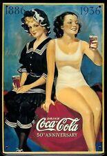 Coca Cola balneazione Ragazza Cartolina Metallo Targa di latta Metallo Stagno
