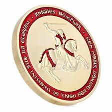 Masonic Knights Templar Crusader Cross Souvenir Gold Plated Commemorative Coin