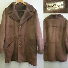 Unbranded Real Sheepskin Brown Coat Soft Suede Shearling Long Jacket Size 38