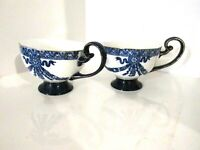 Bombay Company Cobalt Blue White Scroll Handle Footed Tea Cup PAIR