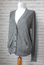 COS Grey Fine Merino Wool Silk Mix Cardigan, Size M Medium / L Large