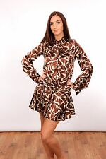 TOPSHOP UNIQUE brown & cream bambi deer pattern satin dress 20s vintage style