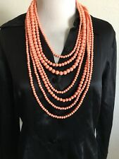 Vintage Bead Necklace Flapper Coral Pearl Faux Stone Jewelry Statement