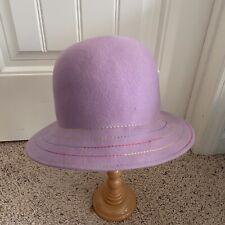RAFFAELLO BETTINI Women's 100% Wool Purple Rim Bucket Hat Made in ITALY