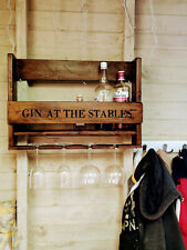 Hand-painted Personalised Wall Mounted Rustic GIN BAR , cocktail, Wine Bar, Rack