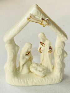Beautiful Ceramic Christmas Nativity Gold and White Perfect for Desk