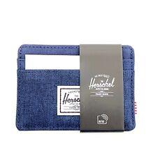 HERSCHEL Charlie RFID Blocking Card Holder Case 5 CC Wallet Navy Blue Canvas