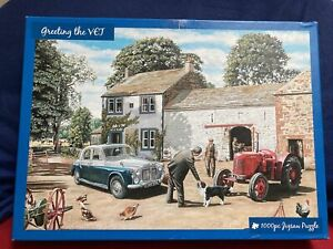 1000 piece jigsaw puzzle Greeting The Vet By Trevor Mitchell completed once