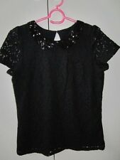 Marks & Spencer black lace party top -sequin collar -lined -worn once - 13-14yrs