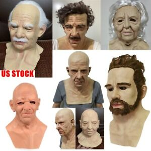 Latex Old Man Mask Male Disguise Cosplay Costume Party Realistic Masks US