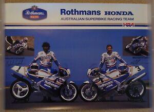 Motorcycle Poster, Rothmans Honda Australian Superbike Team Industry Wall Poster