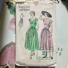 1948 'New Look' Vogue sewing pattern 40s vintage summer fashion dress full skirt