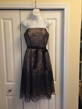 Adriana Papell Boutique Gold Cocktail Dress w/ Lacy Black Overlay - Size 8