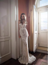 Berta Mermaid White/Ivory Wedding Dress Lace Appliqued Bridal Gown Custom Size