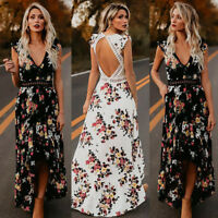 Women Boho Long Maxi Dress Evening Cocktail Party Beach Dresses Sundress 3Colors