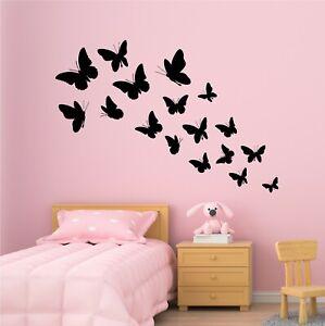 18 x Butterfly Wall Art Various Size Nursery Girls Bedroom Vinyl Kids Sticker UK