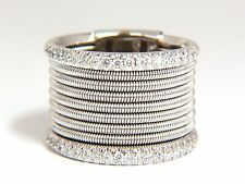 .50ct natural round bead set diamonds wide band 18kt coil wrap mod fused bands