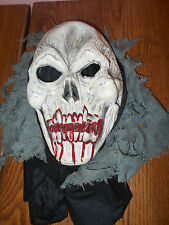 Zombie Skull Mask With Fangs & Bloody Mouth, EUC