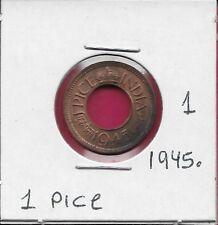 INDIA BRITISH 1 PICE 1945. XF-AU KING GEORGE VI,CENTER HOLE,LARGE DATE,LARGE LEG
