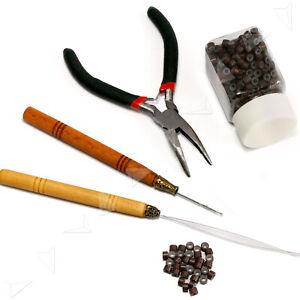 New 4 in 1 Micro Rings Hair Extension Loop w/500 x Beads Tool Kit