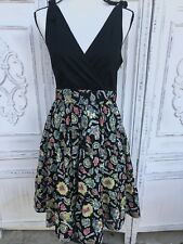 Size 10 MAEVE Anthropologie Black Green Vtg Look Fit & Flare Sun Dress NEW Retro