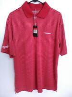 Nike Golf Tour Performance Mens Size Large Red White Striped Logo Polo Shirt