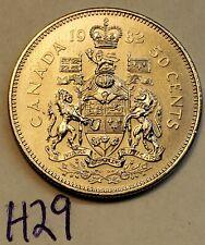 1982  CANADA Half Dollar ELIZABETH II 50 Cent Coin H29c