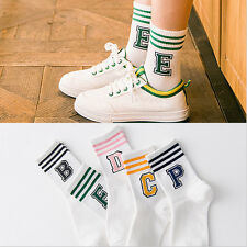 Women Letter Stripe Cotton Casual Sport Athletic Socks short Harajuku Style HOT