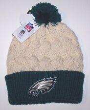 e10b0b3781d Philadelphia Eagles Logo Football Beanie Cap Hat Rolled Cuff Cable Women