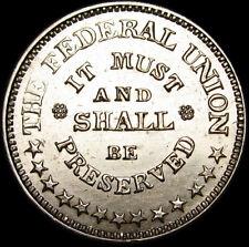 1863 Civil War Token Medal Army and Navy Federal Union Gem Bu+ Details #K844