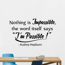 Audrey Hepburn Quote Wall Decal Nothing Is Impossible Vinyl Sticker Decor 139bar
