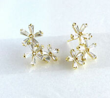 Girls Flower Climb Stud Earrings 14K Yellow Gold Plated Ruby Clear CZ Crystal
