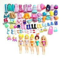 Mattel Polly Pocket 69 Piece Lot with 5 Girl Dolls Clothes Shoes Accessories