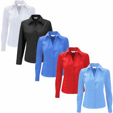 Ladies Smart Casual Long Sleeve Work Shirt Blouse Fitted Office School Formal