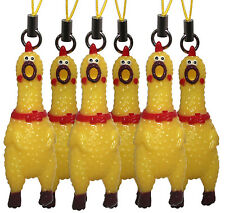 """Mini 2"""" Squawking Screaming Rubber Chicken Cell Mobile Phone Charm - 6 PC Set"""
